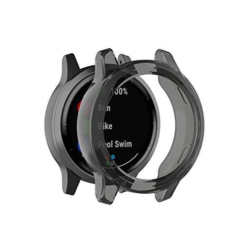 Compatible with Vivoactive 4 Case, Premium Soft TPU Screen Protector All-Around Protective Bumper Shell Cover for Garmin Vivoactive 4 Smartwatch (Black)