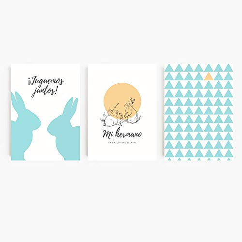 SARIERA® Juego de 3 láminas para habitación infantil de hermanos– decoración para bebés, niños – Conejos menta estilo nórdico–sin marco