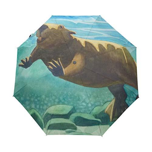 DEZIRO Grappig Dier Schattig Vet Bever Zwemmen Drie Vouw Outdoor?Paraplu?Auto open Waterdicht