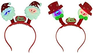 Decorative Light Up Snowmen and Santa Claus Merry Christmas Party Headbands, Pack of 2