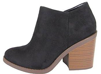 Soda Women s Closed Toe Zipper Block Stacked Chunky Heel Ankle Bootie,Black,9