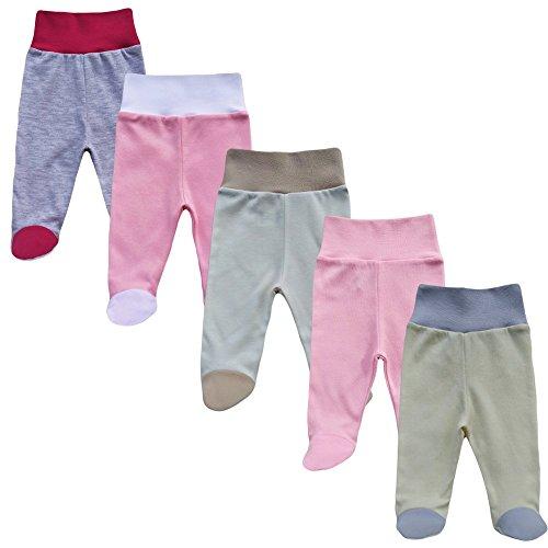 MEA BABY MEA BABY Babyhose mit Fuß Stramplerhose Jungen Baby Hose Strampelhose Mädchen im 5er Pack (68, Mädchen)