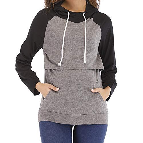 puseky Pull d'allaitement à capuche d'allaitement pour femmes enceintes (Color : Black+Grey Sleeve, Size : S)