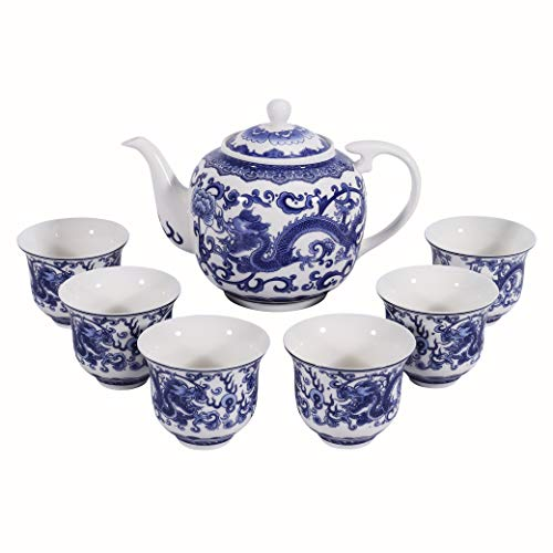 fanquare 6 Pieces Chinese Dragon Blue and White Porcelain Tea Set,Ceramic Kungfu Tea Service Set for Adults