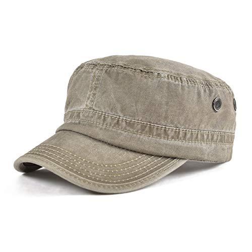 VOBOOM Washed Cotton Military Caps Cadet Army Caps Unique Design Vintage Flat Top Cap (Khaki)