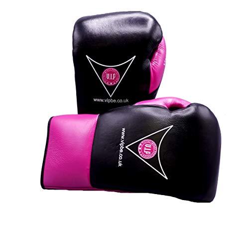 VIP Pugna Boxhandschuhe aus Leder mit Schnürung für Kampfsport, Fitness, Pro Wettkampf, Schwarz/Rot, 284 g