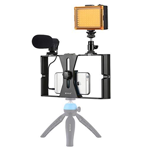 Video Live Bracket 3 in 1 Vlogging live uitzending LED selfie Light Smartphone Video Rig Kits met microfoon + Cold Shoe statiefkop (Color : Blue)