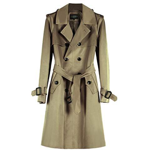 TSTZJ Hombre Tradicional Doble Breasted Longitud Larga Abrigo, Abrigo de Vendimia Slim Fit, Chaqueta de Rompevientos Individuales de Solapa Casual con cinturón (Color : Khaki, Size : XL)