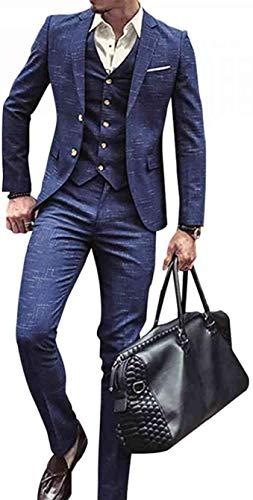 Heren 3-delig pak Classic Tweed Herringbone Check Tan Slim Fit Vintage pak