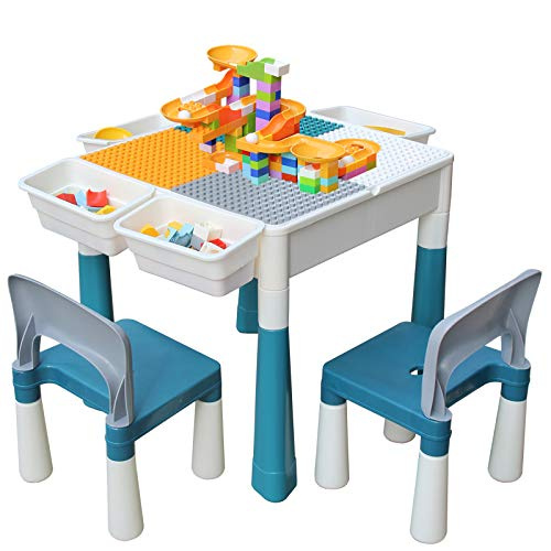 Kids 7in1 Multi Activity Build Table and 2 Chair Set 120 Pieces Large Building Blocks Water Table Building Block Table Play Arts Crafts Table with Storage Space for Kids Toddler Primary 20 inch