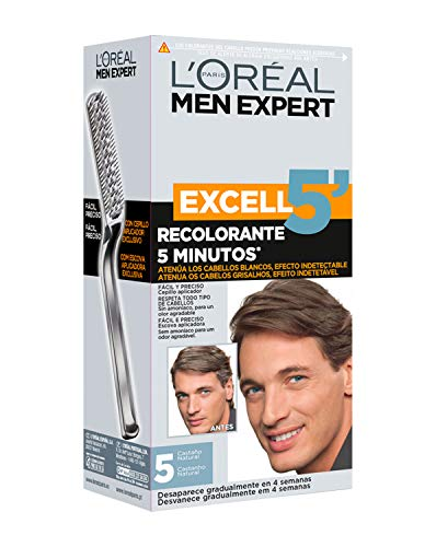 L'Oréal Men Expert Coloración Excell 5' - Recolorante 5 Minutos, Tono 5, Castaño Natural