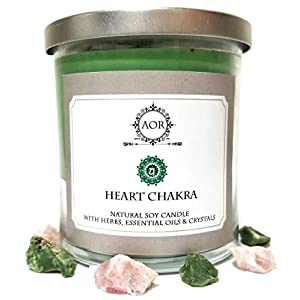 Heart Chakra Soy Candle with Rose Quartz & Chrysoprase Crystals, Herbs & Essential Oils for Love, Compassion, Forgiveness & Emotional Healing