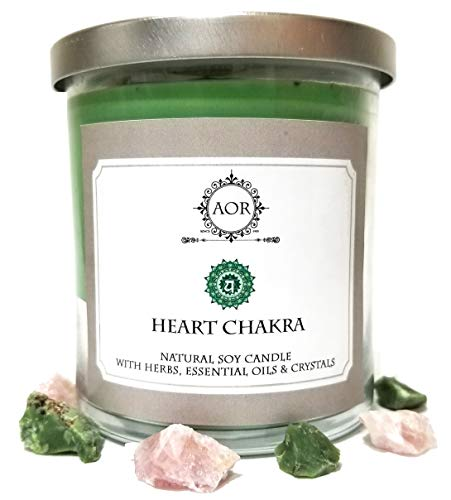 Heart Chakra Soy Candle (Anahata) 8.5 oz with Rose Quartz & Chrysoprase Crystals, Herbs & Essential Oils for Love, Compassion, Forgiveness & Emotional Healing (Wiccan Pagan Magick Spirituality)