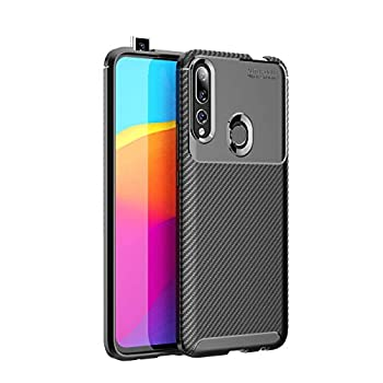 Huawei P Smart Z /Y9 Prime 2019 Case Silicone Leather[Slim Thin] Flexible TPU Protective Case Shock Absorption Carbon Fiber Cover for Google Huawei P Smart Z /Y9 Prime 2019 Case  Black