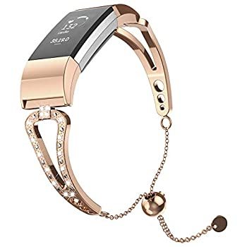 UMTELE Band Compatible with Charge 2 V Shape Stainless Steel Bracelet Band Replacement for Charge 2 for Women & Girls