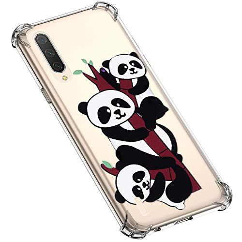 Uposao Xiaomi Redmi CC9 Coque Transparente Motif Fleur Animé Dessin Imprimé Silicone Gel TPU Ultra Mince Souple Antichoc Bumper Housse de Protection Etui pour Xiaomi Redmi CC9,Panda