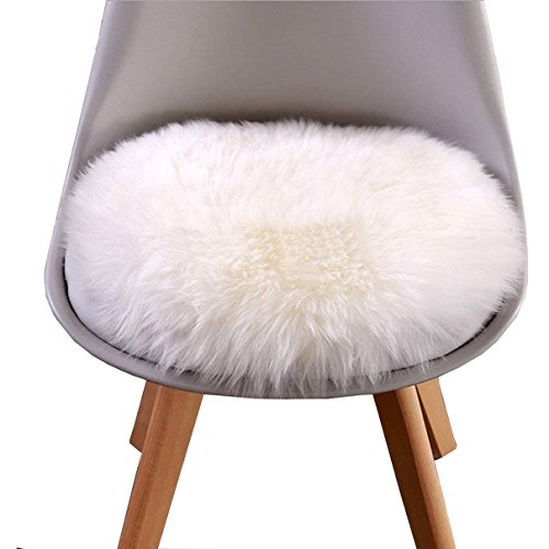 Cumay Kunstfell Pelz Stil Teppich Faux Fleece flauschig Bereich Teppiche Anti-Rutsch Yoga Teppich für Wohnzimmer Schlafzimmer Sofa Boden Teppiche (Rundes Weiß, 45x45cm)