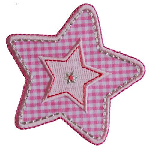 TrickyBoo 2 opstrijkbare ruiten roze ster 7 x 7 cm schaap 8 x 7 cm set patch applicaties voor het repareren van kinderkleding met design Zürich Zwitserland voor Duitsland en Oostenrijk