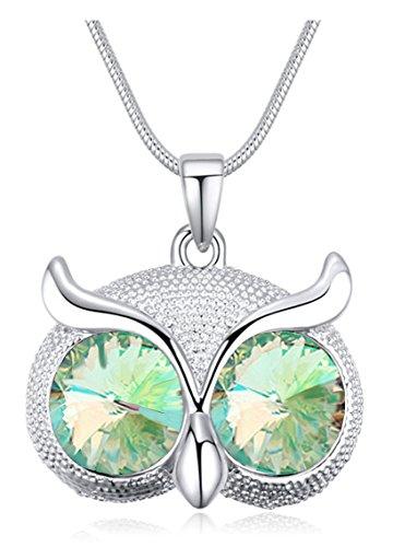 Quadiva E! Collana lunga da donna con ciondolo a forma di gufo (colore: oro bianco/verde) decorata con cristalli scintillanti di Swarovski®