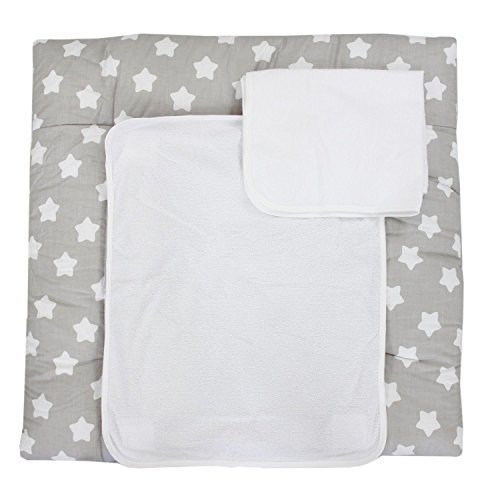 TupTam Wickelauflage inkl. 2 Frotteebezüge Modell MAR02579, Farbe: Grau Große Weiße Sterne, Größe: 76 x 76 cm