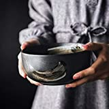 Japanese Design Black Single Matte Ceramic Tableware Sushi Round Plate Rice Big Bowl