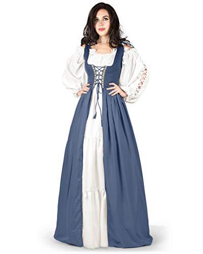 Gaelic Pirate Wench Irish Renaissance Costume Over Dress & Chemise (Large-X-Large, Steel Blue)