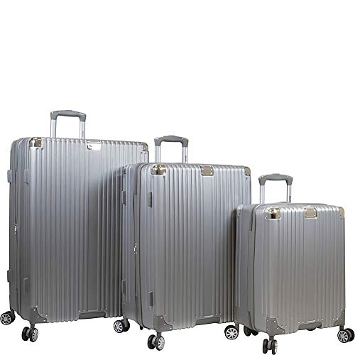 Dejuno Moda Scratch Resistant 3-piece Hardside Spinner Luggage Set, Silver