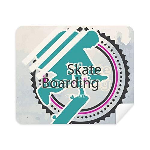 DIYthinker Sport Snowboarden Atleten Illustratie Telefoon Schermreiniger Bril Reinigingsdoek 2 Stks Suede Stof