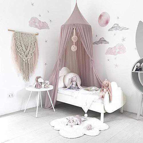 Namgiy Baby Baldachin Betthimmel Chiffon Hängende Rund Moskitonetz für Babys Bett, Spielzelte, Kinderzimmer Höhe 240 cm Saumlänge 260cm (Grau-lila)