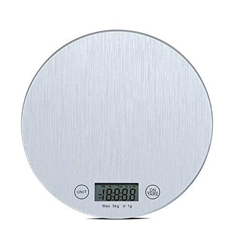 CDZJP Digitale keukenweegschaal, 1-5000 g/m², multifunctionele weegschaal, elektronische keukenweegschaal, LCD-display (11 lb/5 kg), zilverkleurig