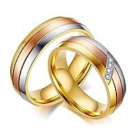 高洗練された恋人ステンレス鋼の結婚式CZリングは 3トーンシルバーゴールドローズゴールド