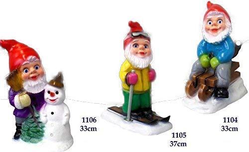 3er Set Gartenzwerg Weihnachten bis 37 cm Schneemann Schlitten Ski bruchfest GRS 1104 05 06