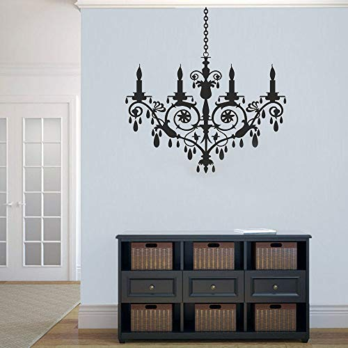 XCSJX European crystal chandelier wall decals living room bedroom home decoration removable modern monochrome vinyl wall stickers 68x69cm can be customized
