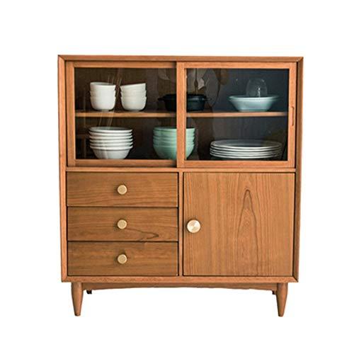 NgMik Muebles Modernos Buffet Servidor del gabinete de Cocina Aparador Gabinete de Almacenamiento Gratuito Permanente Armario de Almacenamiento en el Pecho Aparador (Color : Wood, Size : 100x90x40cm)