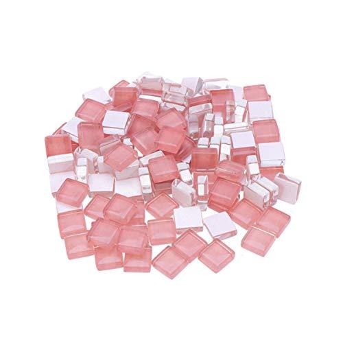 HEALLILY - 100 Piezas de Mosaico de Cristal Cuadrado con Piedras de Mosaico de Cristal de Colores para Marcos, Bricolaje, decoración Artesanal Gris