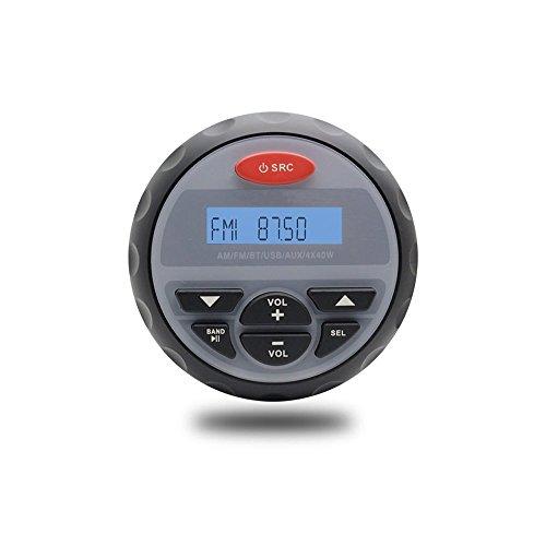 Herdio Marine Gauge Radio Receiver System, Waterproof in-Dash Marine Stereo Bluetooth Digital Media Mp3 AM/FM/USB/RCA/AUX