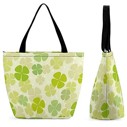 Xingruyun Damen Handtasche Glücksklee Grün Umhängetasche Schultertasche Drucken Shopper Tasche Henkeltaschen Für Mädchen Frauen 28.5x18x32.5cm
