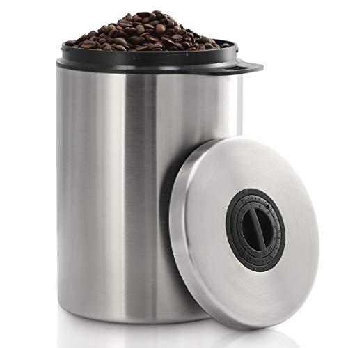 Xavax Kaffeedose luftdicht für 1kg Kaffeebohnen (Behälter für Kaffee, Tee, Kakao, Nudeln, Edelstahl Dose zur Aufbewahrung mit Aromaverschluss, Vorratsdose für 1000g Kaffee) silber