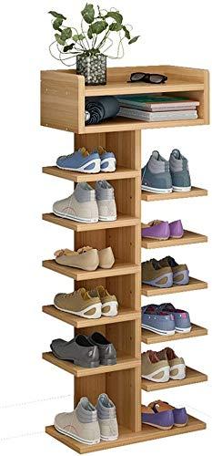Bastidores de Zapatos Entrada Freestanding Zapato Rack de Madera Grain Multi-Capa Zapato, Almacenamiento de Doble Fila, Diseño Multifuncional, Alojamiento 12 Pares de Zapatos Rack Organizer