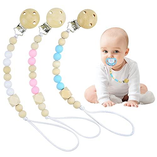 3 Piezas De Cadena De Chupete, Cadena Para Chupetes Personalizado Para Bebe Chupetero Portachupetes Juguetes De Madera Para Bebes para Niño Chicas
