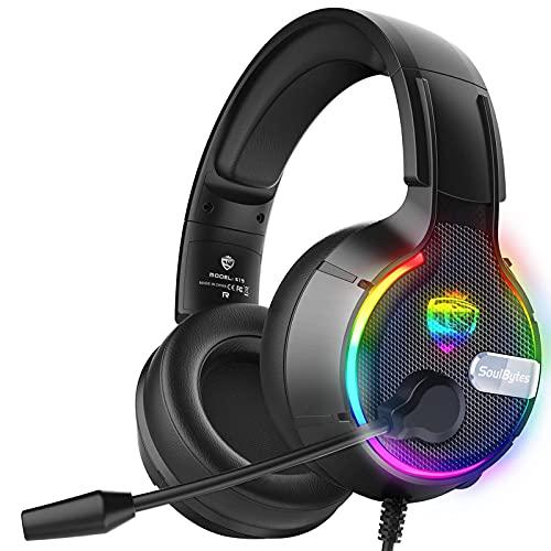 XXH Auriculares de juego para juegos montados en la cabeza, auriculares con sonido envolvente de 360 °, iluminación RGB, unidad de altavoz de 50 mm, reducción de ruido inteligente