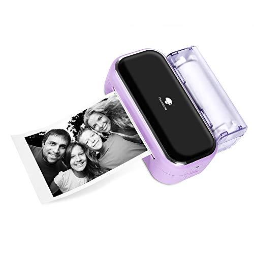 Stampante Bluetooth Portatile Phomemo M03 - Stampante Fotografica Termica, Stampa Istantanea in Bianco e Nero da 80 mm, Compatibile con Telefono e Tablet, per Diario di Design, Foto, Elenchi - Viola