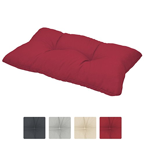 Beautissu Cojines para Muebles de jardín XLuna Lounge sillas de Mimbre de Exterior Respaldo Grueso Acolchado Aprox. 60x40x12 cm Rojo