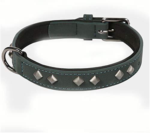 Collar de Perro de Piel de Vaca con Tachuelas de PU, Cuello de Cachorro con picado de Cuero de Microfibra,2,S