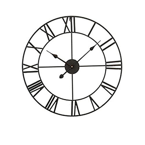 QIANJINGCQ Reloj de Pared Relojes de Sala de Estar Modernos nórdicos Hogar Americano Números Romanos Reloj Creativo silencioso de Hierro Forjado