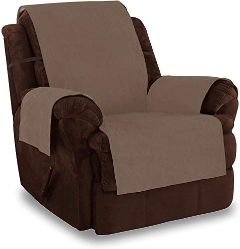 Link Shades Anti-Slip Recliner Armchair Protector | Water Resistant Microsuede Slipcover | Stay-Put Straps | Cover Protects from Dogs & Other Pets (Recliner, up to 23' seat size, Camel)