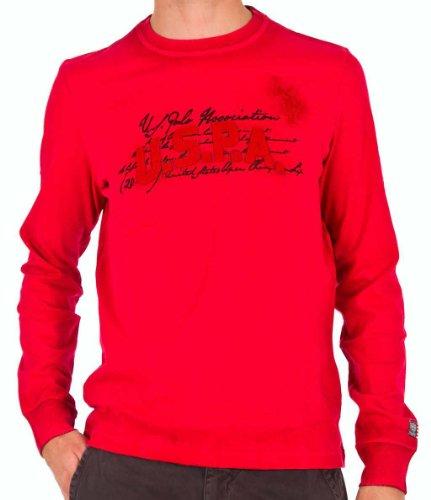 US Polo ASSN USA Polo T-Shirt USPA Logo Langarm Rundhals 2 Farben Used Look Größe L Rot