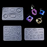 FineInno Resin Mold,Earring Mold Epoxy Pendant Molds Jewelry Molds Casting Silicone Molds Resin Heart Leaf Drop Moon Star Round Earring
