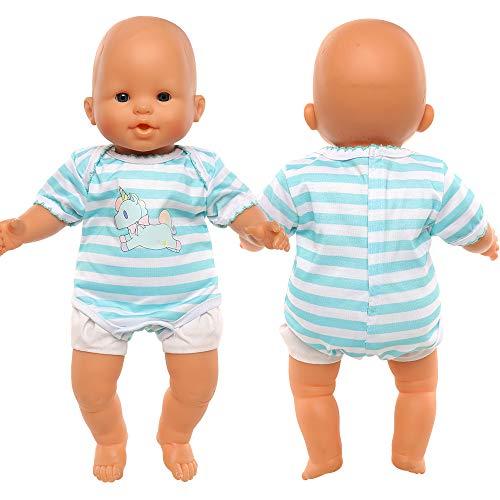 Miunana Abito Blu Stampa Unicorno per 36 CM - 42 CM (14 Pollici - 16 Pollici) Baby Dolls Bambola bebé E Altre Bambole, Bambolotti Amore Mio (Non Include Bambola)