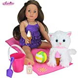 Sophia's Doll Beach Accessory Set for Dolls or Plush Friends 7Piece Beach Set with Doll Food, Sand Toys, Doll Beach Towel & Ball